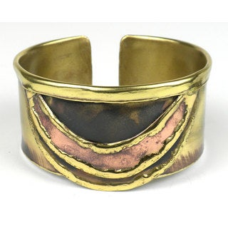Handcrafted Brass and Copper Slice Cuff (South Africa)