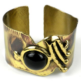 Handcrafted Onyx on Wing Brass Cuff (South Africa)