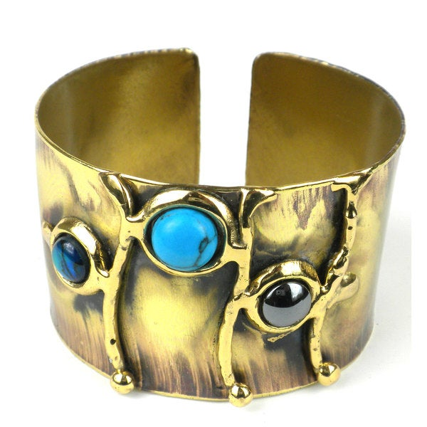 Handcrafted Deep Sea Shell and Stone Cuff (South Africa)