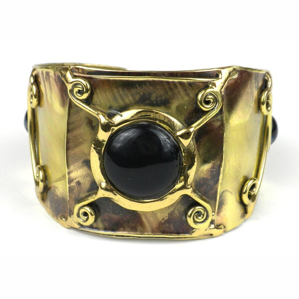 Handcrafted X Squared Black-Blue Tiger Eye Cuff (South Africa)