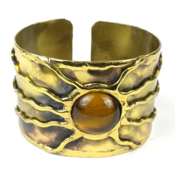Handcrafted Gold Tiger Eye Sun Cuff (South Africa)