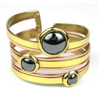 Handcrafted Strips and Hematite Cuff (South Africa)