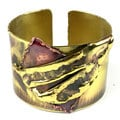 Handcrafted Layered Leaf Copper and Brass Cuff (South Africa)