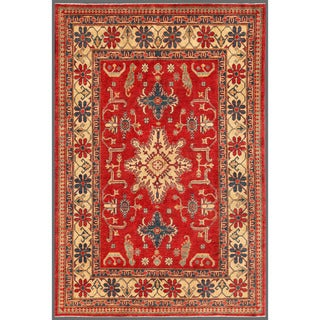Afghan Hand-knotted Kazak 6'4 x 9'7 Red/ Ivory Wool Area Rug (Afghanistan)