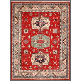 Afghan Hand-knotted Kazak Red/ Ivory Wool Rug (8'9 x 11'9)