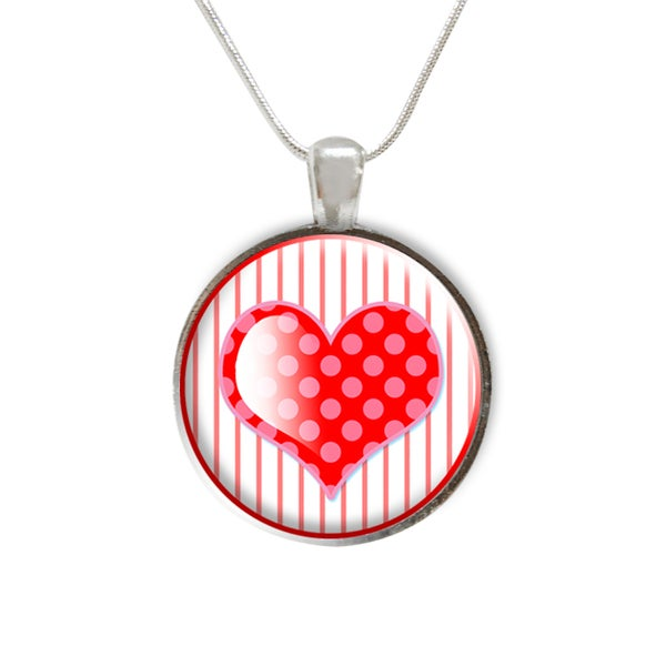 Valentine's Day Heart Glass Pendant Necklace
