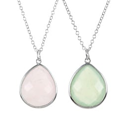 La Preciosa Sterling Silver Pear-cut New Jade or Rose Quartz Necklace