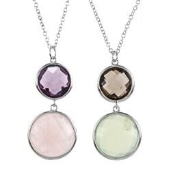 La Preciosa Sterling Silver Double Gemstone 20-inch Necklace