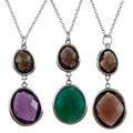 La Preciosa Sterling Silver Double Gemstone Necklace