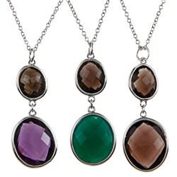 La Preciosa Sterling Silver Double Gemstone Necklace