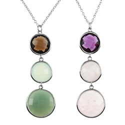 La Preciosa Sterling Silver Graduated Gemstone Necklace