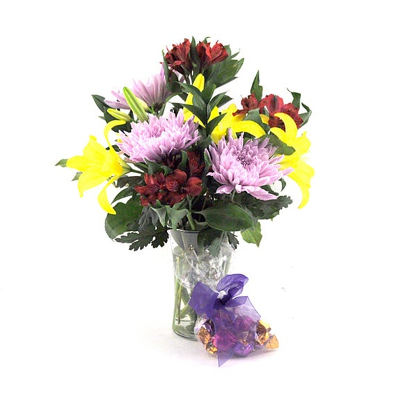 (Valentine's Day Pre-Order) Mixed Bouquet with Godiva Truffles and Vase