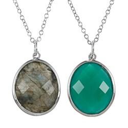 La Preciosa Sterling Silver Oval Gemstone 20-inch Necklace