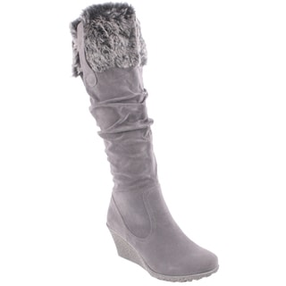 Liliana by Beston Women's 'Treviso' Fur Cuffed Knee-high Boots