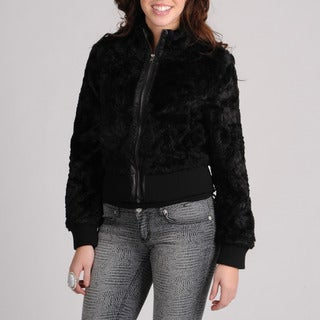 CoffeeShop Juniors Black Faux Fur Jacket