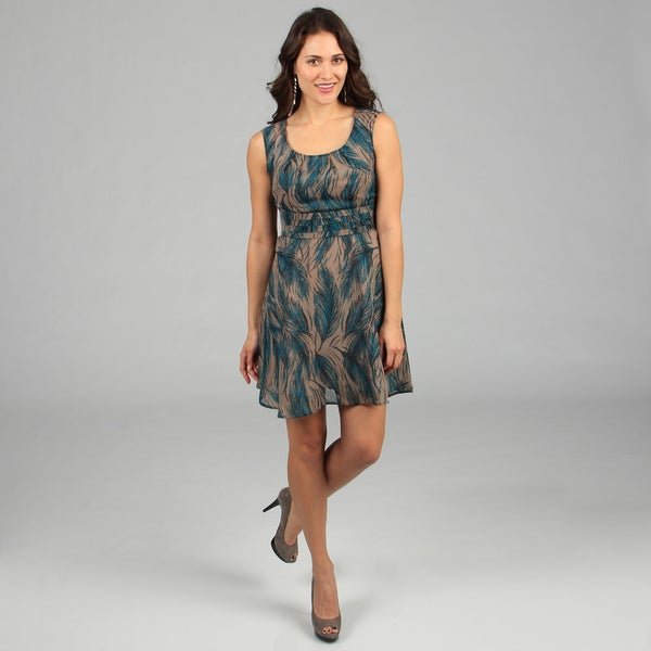 CeCe's New York Women's Turqouise Feather Print Sleeveless Dress