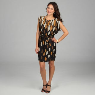 CeCe's New York Black Abstract Printed Wrap Dress