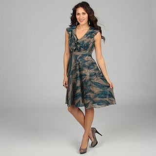 CeCe's New York Turqouise Feather Print Sundress