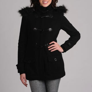 Mo-Ka Black Fleece Women's Toggle Coat