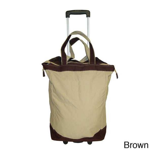 NY Cargo Cotton Canvas Rolling Shopper Tote Upright