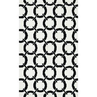 Microfiber Woven Harlow Ivory/ Onyx Rug (2'3 x 3'9)