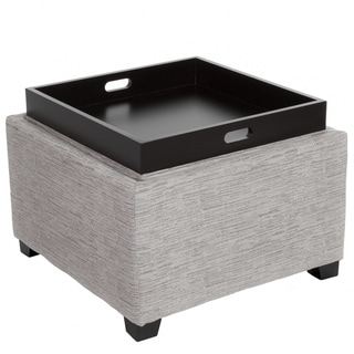Christopher Knight Home Andrea Grey Fabric Tray Top Storage Ottoman