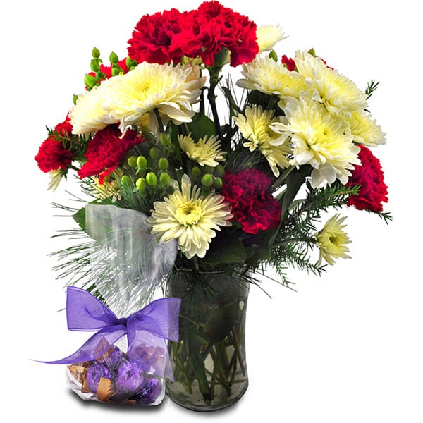 (Valentine's Day Pre-Order) Flower Bouquet with Godiva Truffles and Vase