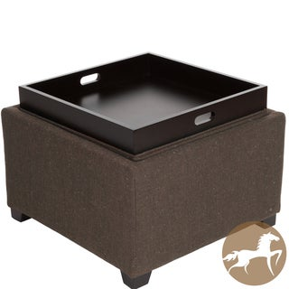 Christopher Knight Home Wellington Brown Fabric Tray Top Ottoman