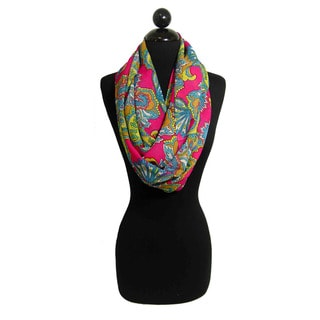 Peach Couture Women's Colorful Paisley Loop Scarf