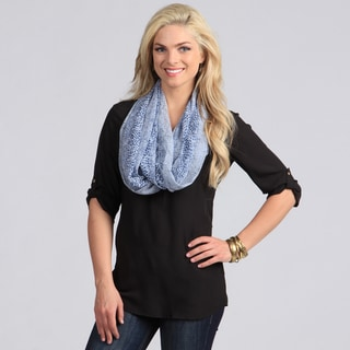 Women's Ice Blue Snake Skin Print Loop Scarf