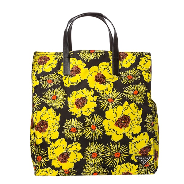 faux prada bags - Prada Women\u0026#39;s Yellow and Black Flower Printed Tote Bag - 15069341 ...