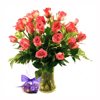(Valentine's Day Pre-order) Two-dozen Pink Roses with Godiva Truffles and Vase