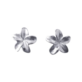 Silver Hawaiian Plumeria Flower Post Earrings (Thailand)