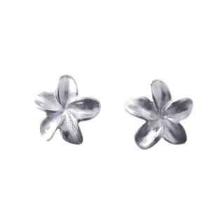 Silver Hawaiian Plumeria Flower Post Earrings (Thailand)