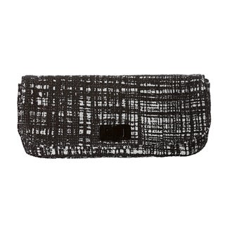 Prada Women's Black and White Tweed Clutch with Leather Lining
