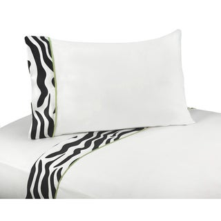 Sweet JoJo Designs 200 Thread Count Lime Funky Zebra Bedding Collection Sheet Set