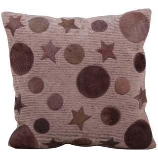 Mina Victory All-over Moons and Stars Lilac Natural Leather Hide 20 x 20- inch Pillow by Nourison