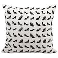 Mina Victory Life Styles Black/ White Allover Shoe Design 18 x 18 inch Pillow by Nourison