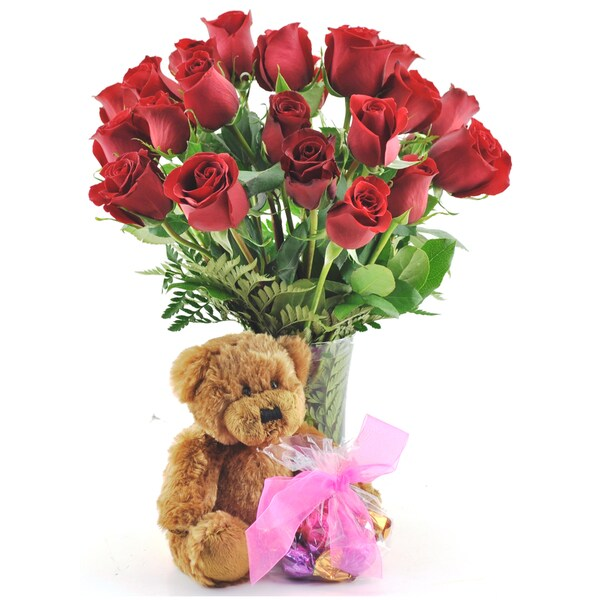 (Valentine's Day Pre-order) Two Dozen Red Roses with Godiva Truffles, Plush Teddy Bear and Vase