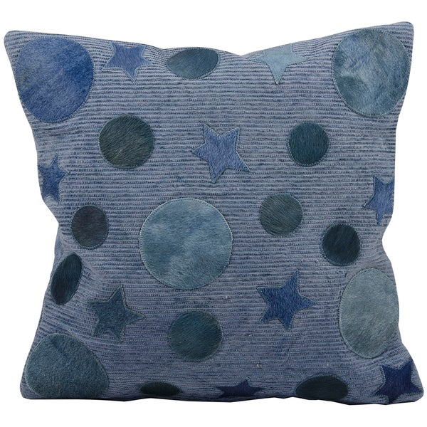 Mina Victory All-over Moons and Stars Blue Natural Leather Hide 20 x 20-inch Pillow by Nourison