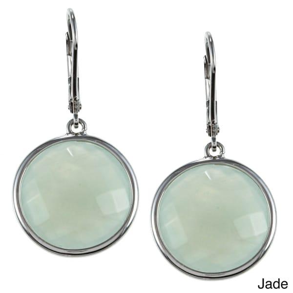 La Preciosa Sterling Silver Round Gemstone Drop Earrings