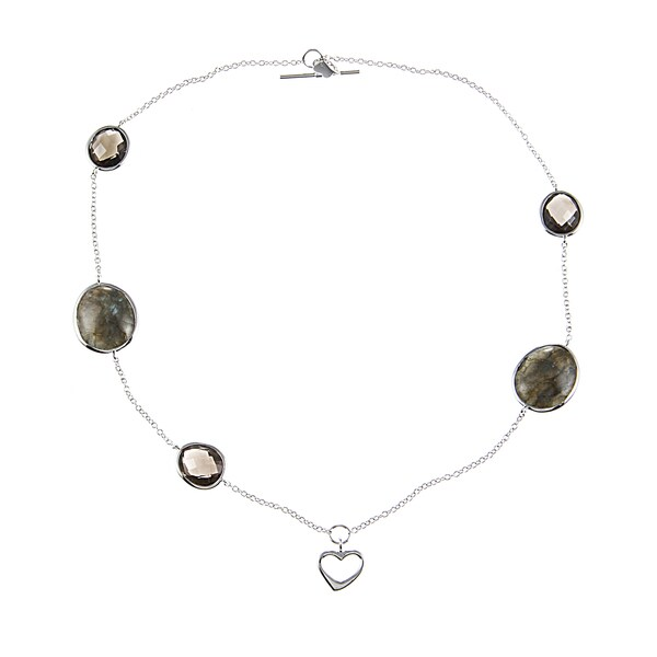 La Preciosa Silver Smokey Quartz and Labradorite Heart Charm Bracelet