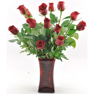 (Mother's Day Pre-Order) One Dozen Red Roses with Red Vase