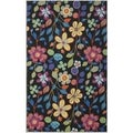 "Safavieh Four Seasons Stain-Resistant Hand-Hooked Contemporary Floral Black Rug (3' 6"" x 5' 6"")"