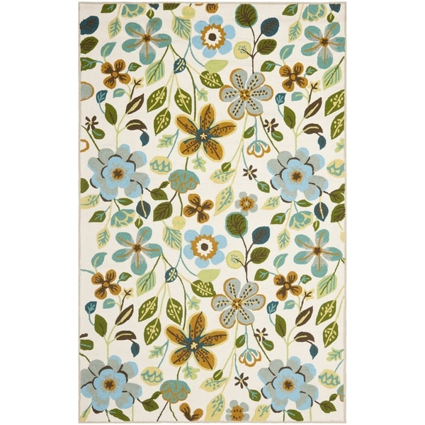 Safavieh Four Seasons Stain Resistant Hand-Hooked Ivory/Blue/Rust Floral Rug (5' x 8')