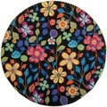 Safavieh Four Seasons Stain Resistant Hand-Hooked Floral Black Rug (6' Round)