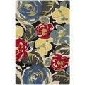 "Safavieh Four Seasons Stain-Resistant Hand-Hooked Black Accent Rug (2'6"" x 4')"