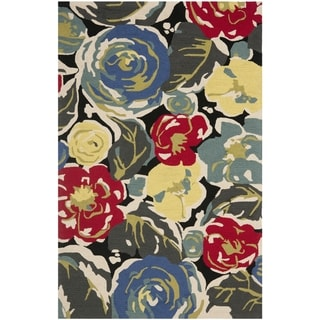 "Safavieh Four Seasons Stain-Resistant Hand-Hooked Abstract Black Rug (3' 6"" x 5' 6"")"