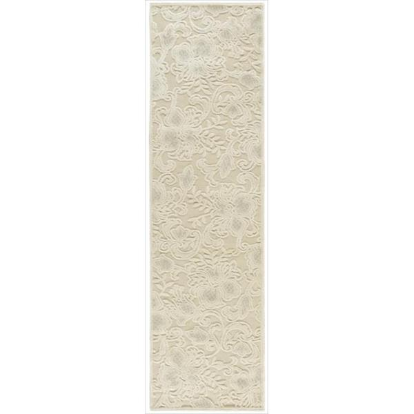 Graphic Illusions Carved Floral Cream Runner Rug (2'3 x 8')