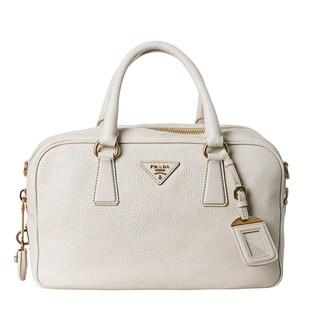Prada Women's 'Vitello Daino' White Pebbled Leather Satchel Bag